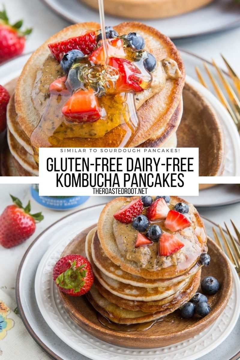 Dairy-Free Gluten-Free Kombucha Pancakes are light, fluffy and have amazing flavor, similar to sourdough pancakes! Perfect for breakfast or brunch