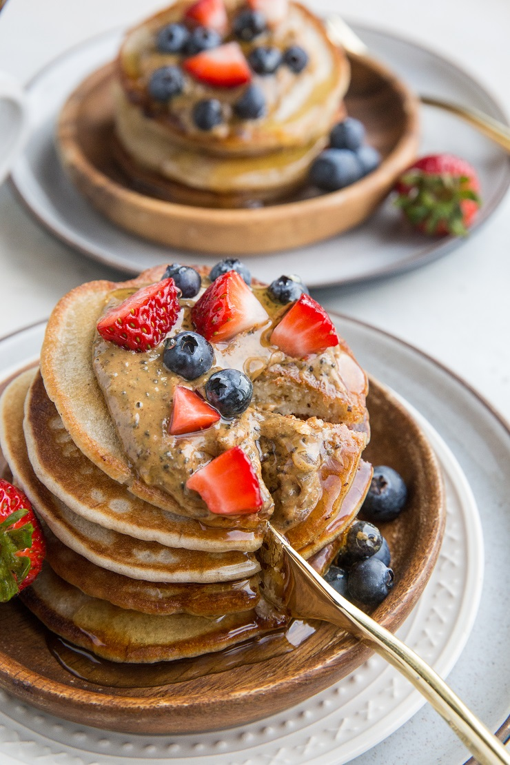 Gluten-Free Kombucha Pancakes - dairy-free, delicious light and fluffy pancakes made with kombucha! They taste similar to sourdough pancakes, and the concept is the same!