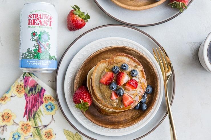 Gluten-Free Kombucha Pancakes made dairy-free with Sierra Nevada Strainge Beast Hard Kombucha