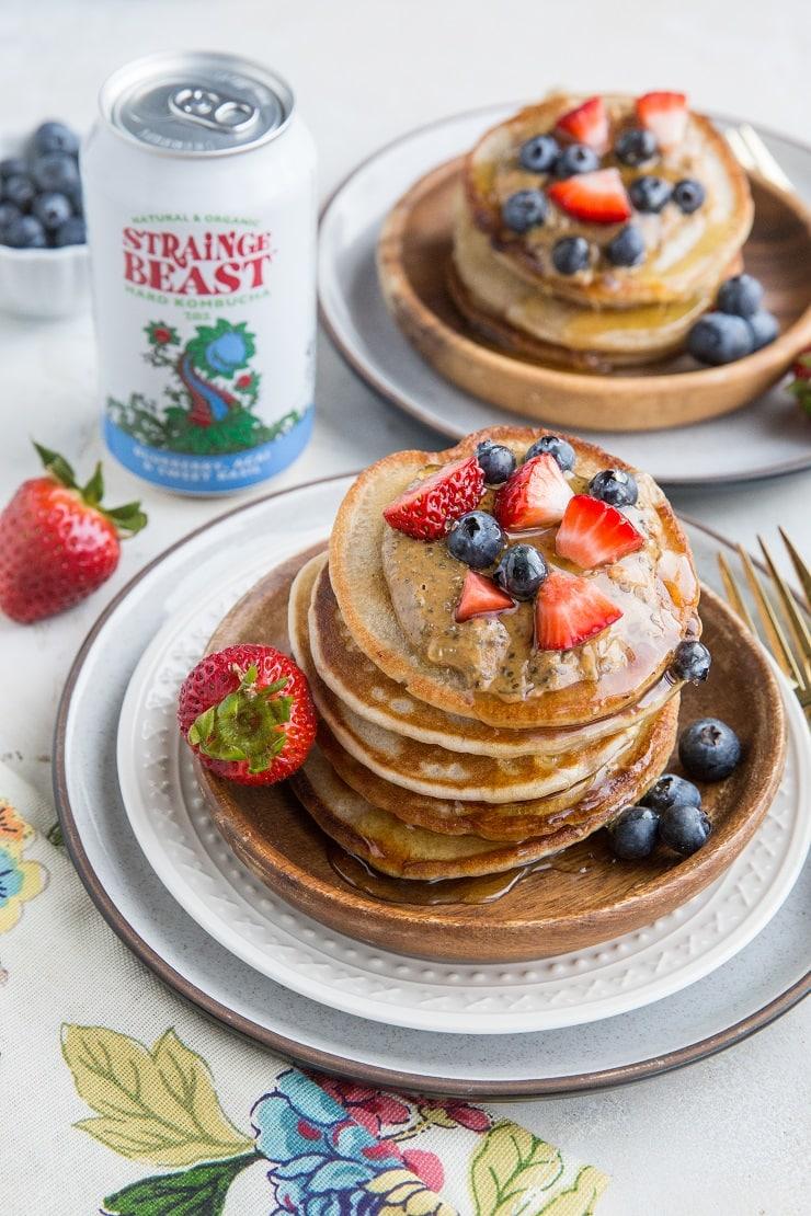 Gluten-Free Pancakes made with kombucha! Light, fluffy, flavorful pancake recipe that tastes like buttermilk or sourdough pancakes