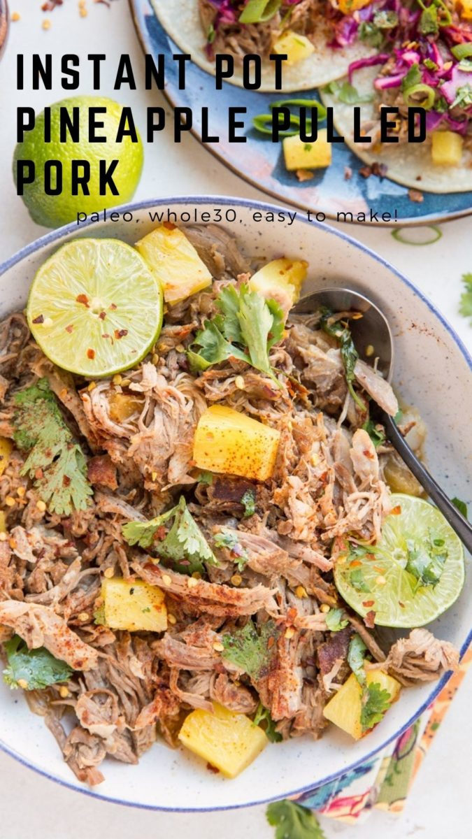 Instant Pot Pineapple Pulled Pork is an easy recipe for the most amazing shredded pork! The pressure cooker makes it incredibly tender and shredded with ALL the flavor