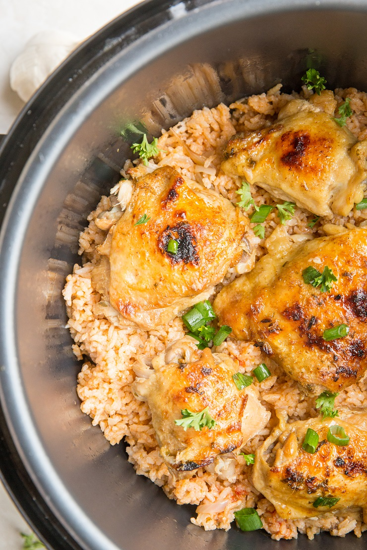 Instant Pot Spanish Rice with Chicken is a quick, flavorful meal that can be made any night of the week!