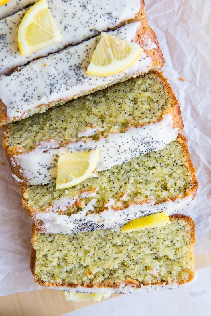 Keto Lemon Poppy Seed Bread (dairy-free, grain-free, sugar-free) - moist delicious, zesty bread recipe perfect for breakfast or snack