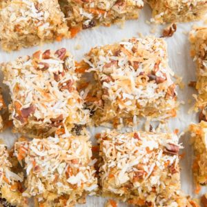 Grain-Free Paleo Carrot Cake Blondies made with all whole food ingredients for a healthier dessert