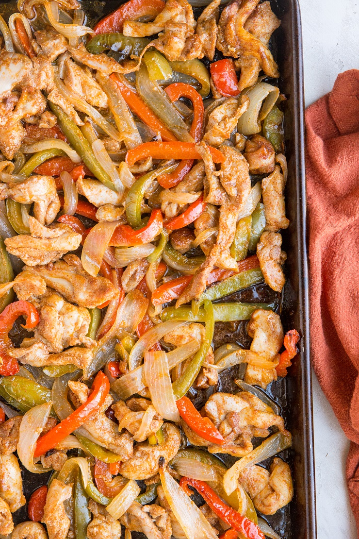 30-Minute Sheet Pan Chicken Fajitas is a quick and easy meal requiring just one sheet pan and a few ingredients