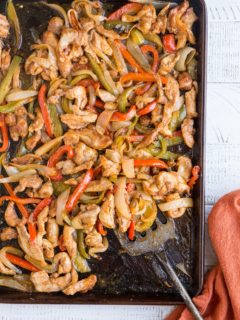Easy Sheet Pan Chicken Fajitas - just a few ingredients and one sheet pan are all that is needed for this healthy meal
