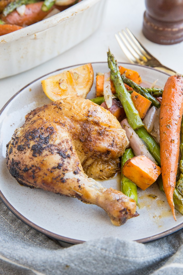 Easy whole roast chicken recipe with roasted vegetables
