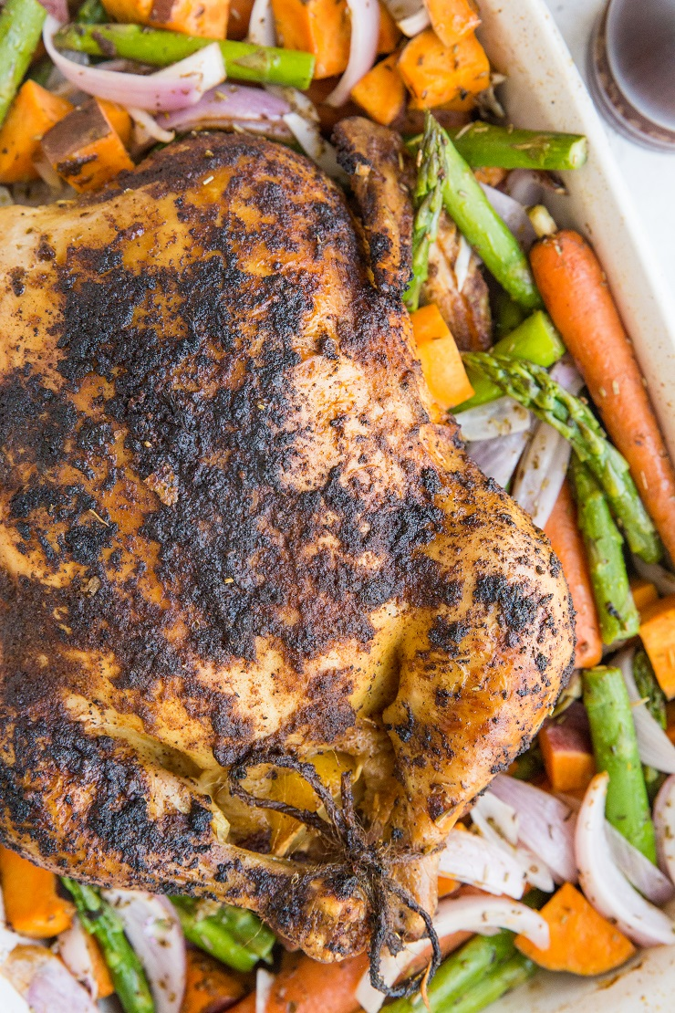 Easy Whole Roast Chicken Recipe with vegetables - a nutritious superfood meal!