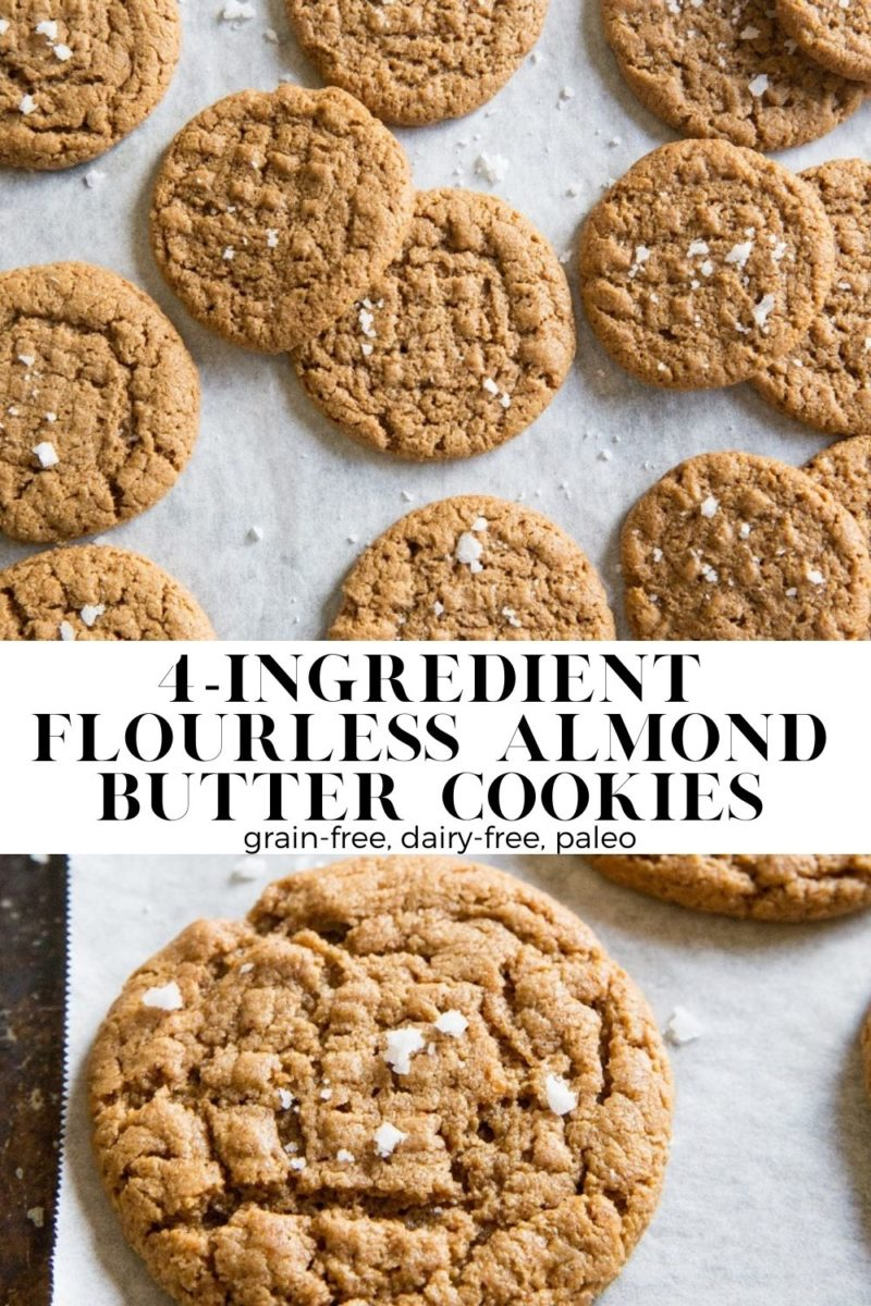 4-Ingredient Paleo Flourless Almond Butter Cookies are rich, delicious and amazing! Grain-free, dairy-free, refined sugar-free and loaded with almond butter flavor for a healthier dessert or snack.