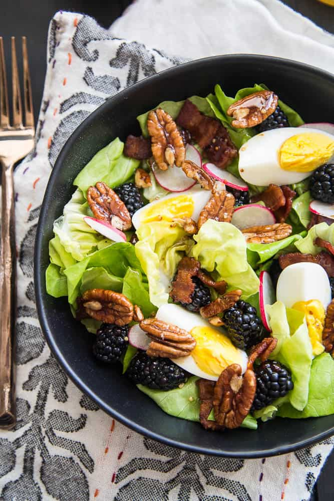 Blackberry, Bacon, & Egg Salad with Maple Dijon Vinaigrette