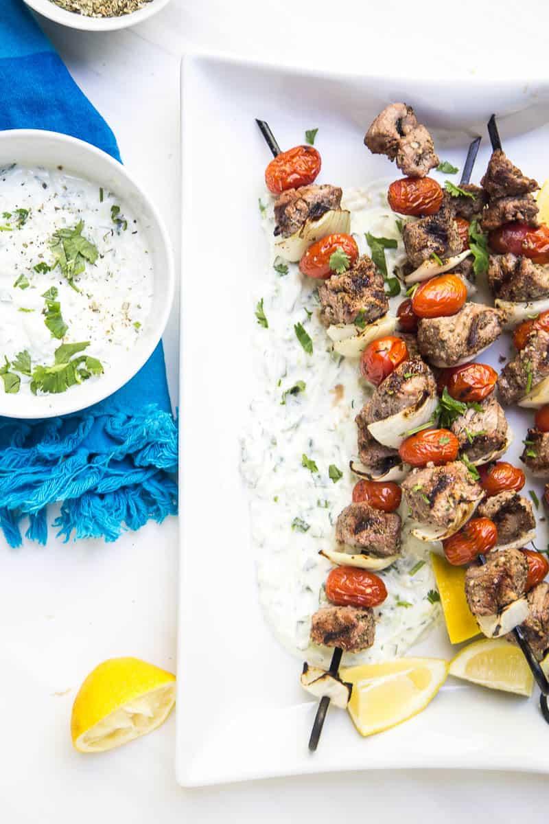 Easy Greek Steak Kebabs with Homemade Tzatziki