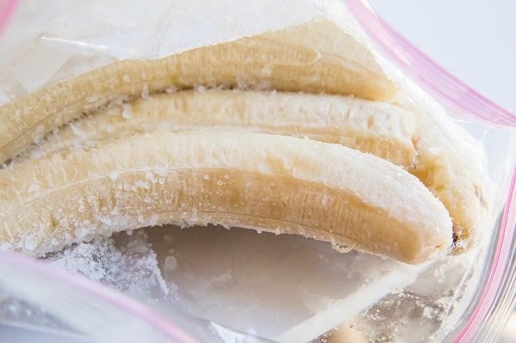 Frozen bananas in a zip lock bag