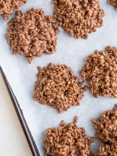 Crispy Rice Chocolate Peanut Butter No Bake Cookies require few ingredients, are so easy to make and delightfully crispy and chewy. No baking required!