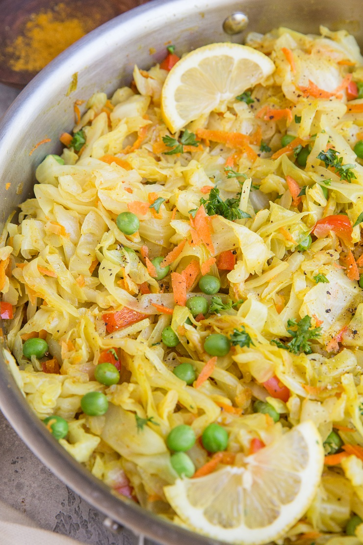 Curry Sautéed Cabbage - an amazing easy side dish infused with Thai curry flavors! Quick to prepare and incredible alongside any main entrée!