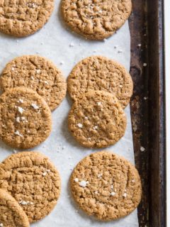Flourless Almond Butter Cookies made with 4 basic ingredients - grain-free, dairy-free, paleo and easy to make!