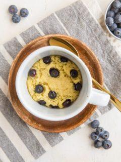 Keto Blueberry Muffin in a Mug - a single-serve sugar-free muffin recipe that is grain-free and sugar-free