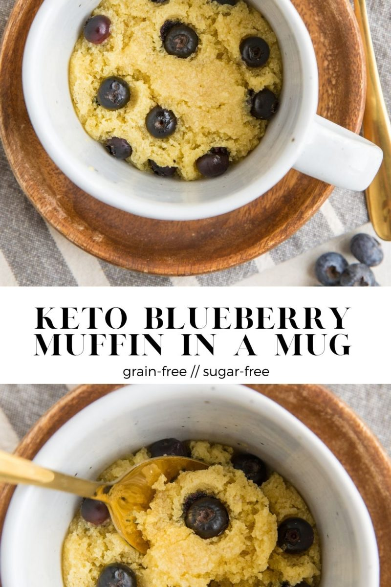 Keto Blueberry Muffin in a Mug - a single-serve sugar-free muffin recipe that is grain-free and sugar-free. Quick and easy to make for a tasty snack or breakfast!