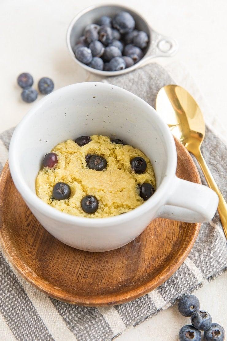 Easy Keto Blueberry Muffin in a Mug - grain-free, sugar-free single-serve muffin recipe