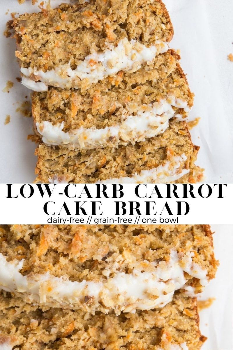 Low-Carb Carrot Cake Bread - grain-free, sugar-free, dairy-free, insanely moist and fluffy!
