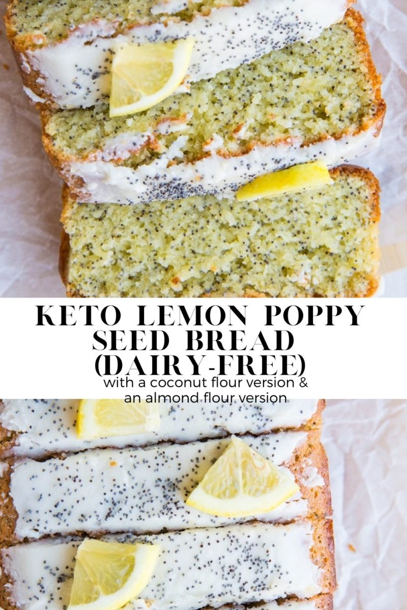 Keto Lemon Poppy Seed Bread made dairy-free and sugar-free. Moist, fluffy, perfectly zesty and delicious!