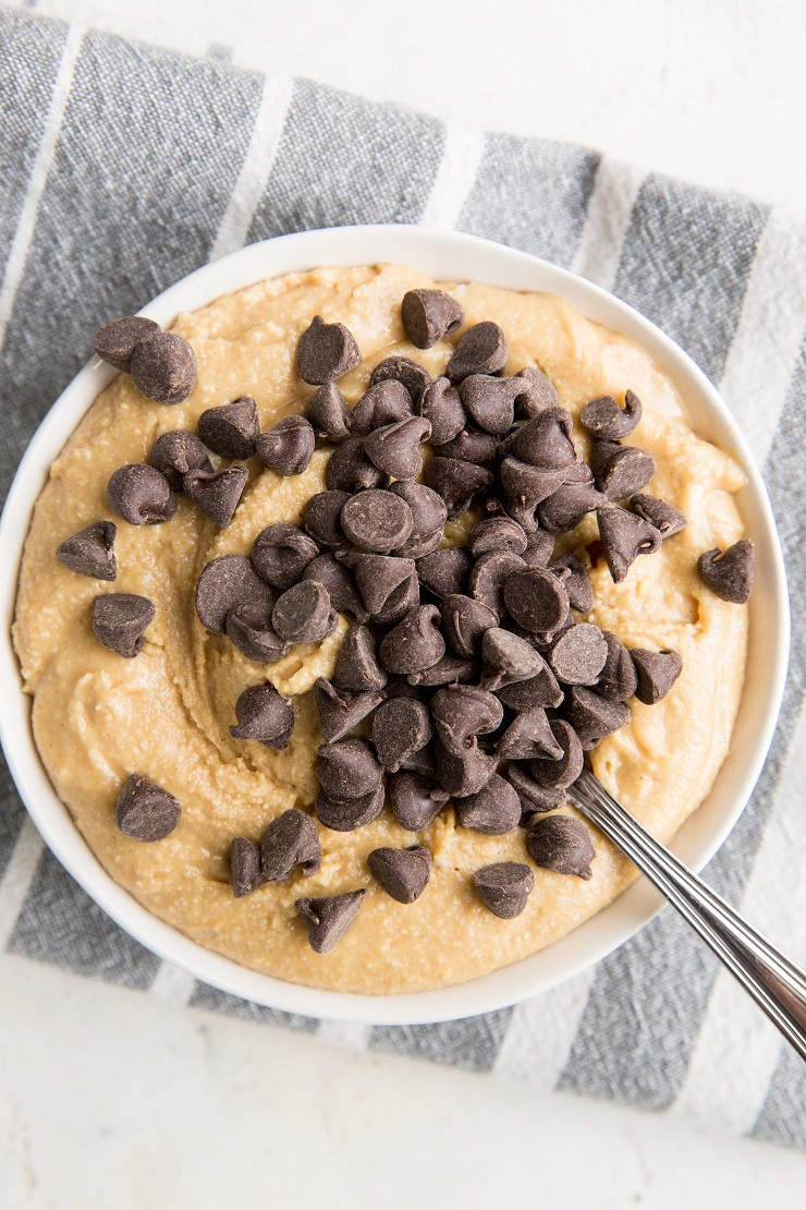Peanut Butter Cookie Dough with Chocolate Chips - grain-free, sugar-free, egg-free cookie dough recipe that is ready to eat.