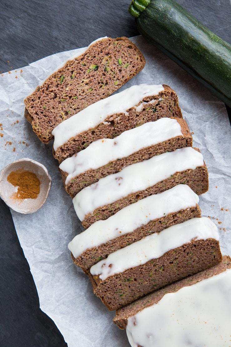 Keto Zucchini Bread Recipe - grain-free, dairy-free, sugar-free zucchini bread made with coconut flour or almond flour.