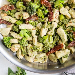 Pesto Chicken and Broccoli with Sun-Dried Tomatoes - the quickest, easiest dinner recipe to get meal time DONE!