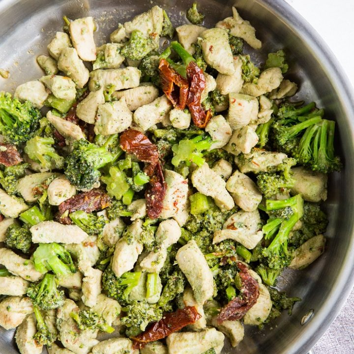 Easy 20-minute Pesto Chicken and Broccoli is a quick and simple dinner recipe requiring 4 ingredients and one skillet.