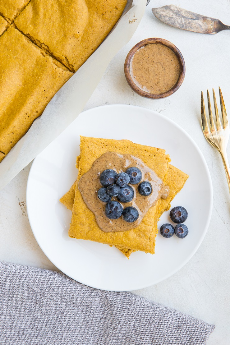 Gluten-Free Sweet Potato Sheet Pan Pancakes - dairy-free, made with whole rolled oats for a healthful breakfast