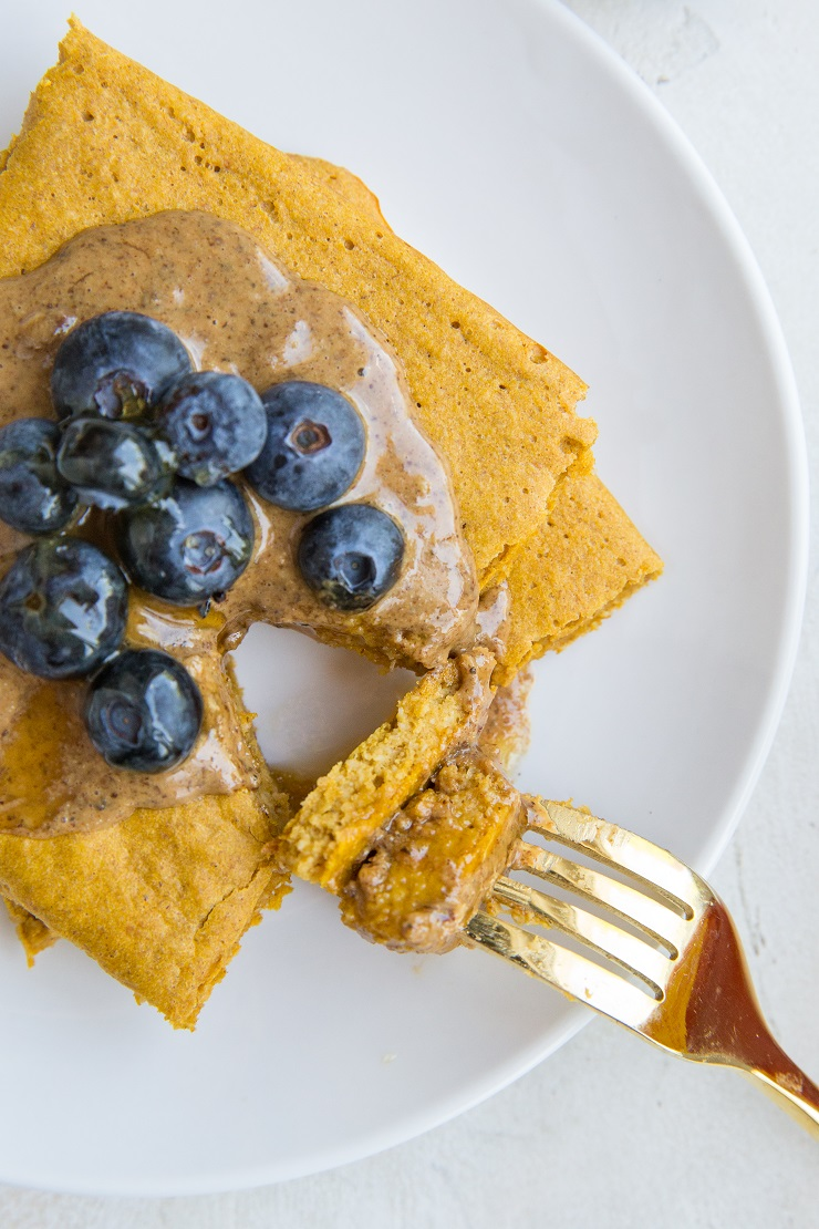 Gluten-Free Sweet Potato Pancakes made on a sheet pan in the oven! Dairy-free, made with whole rolled oats for a healthful breakfast