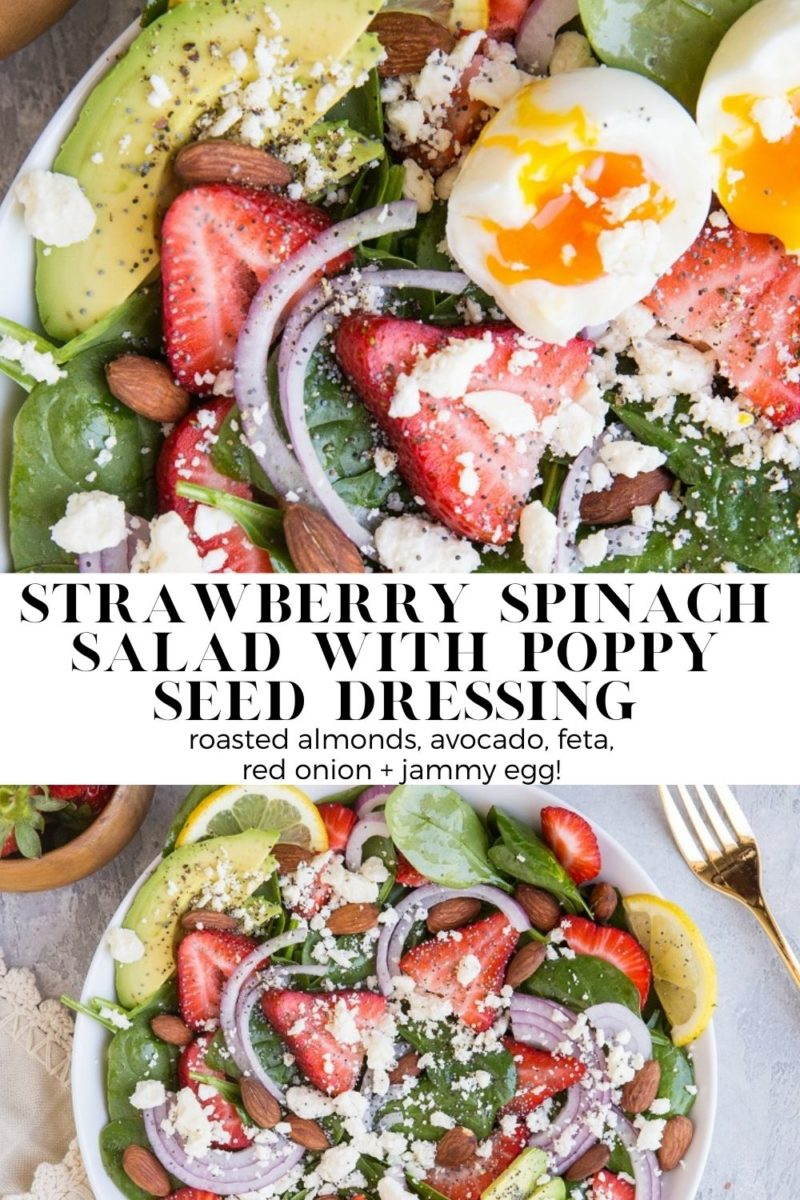 Strawberry Spinach Salad with Poppy Seed Dressing - roasted almonds, avocado, feta, red onion and jammy 6-minute egg make this salad recipe a dream!