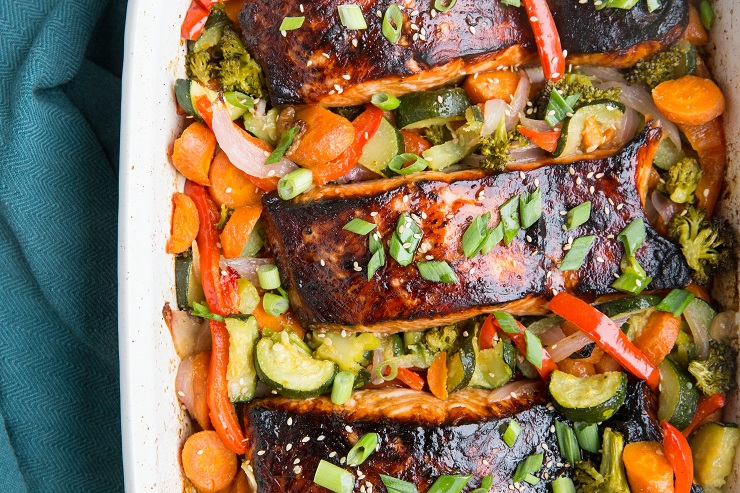 Teriyaki Salmon and Roasted Vegetables is a nutritious and amazingly flavorful meal perfect for any night of the week.
