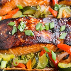 Teriyaki Salmon Recipe - a quick and easy delicious salmon recipe! Serve it up with roasted vegetables for a balanced, delicious meal.