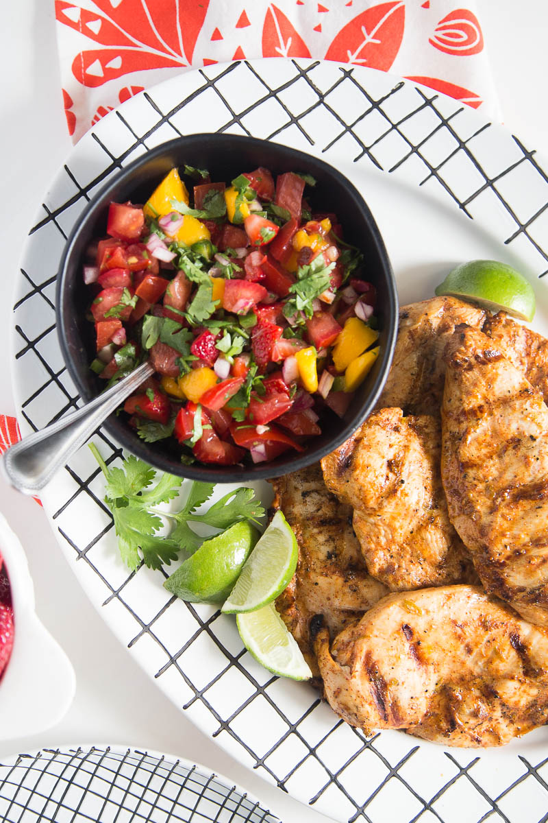 Grilled Chipotle Lime Chicken with Strawberry Mango Salsa