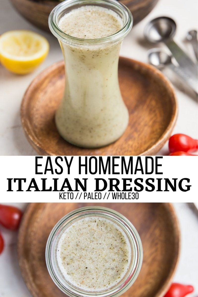 Quick and easy homemade Italian Dressing Recipe made with simple pantry ingredients you already likely have on hand! Spruce up all of your salads with this fresh, delicious healthy salad dressing! Paleo, keto, whole30, vegan and delicious!