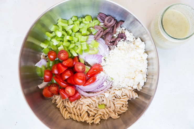 Ingredients for Italian Pasta Salad in a bowl
