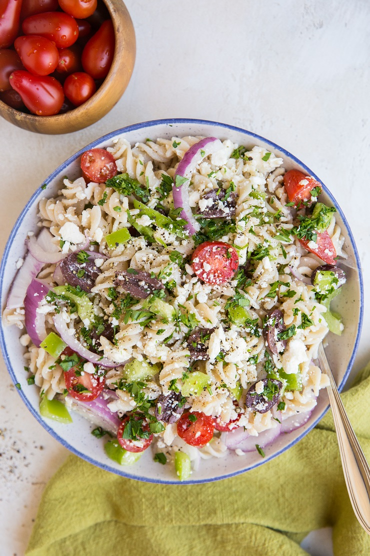 Easy Italian Pasta Salad made gluten-free and vegetarian. A fresh, easy pasta salad recipe perfect for summer BBQs and picnics!