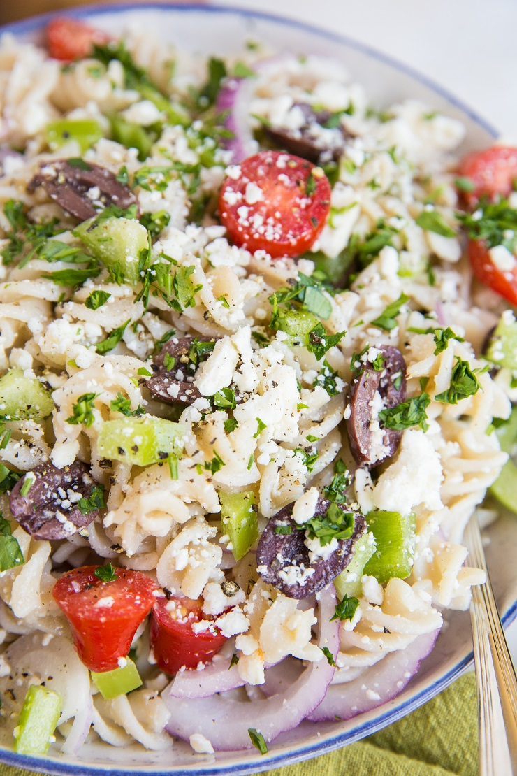 Italian Pasta Salad Recipe made so fresh and easy! This quick, vibrant gluten-free pasta salad is vegetarian and healthy!