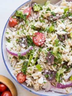 Gluten-Free Italian Pasta Salad without salami - a fresh, vegetarian, delicious pasta salad recipe perfect for summer entertaining!