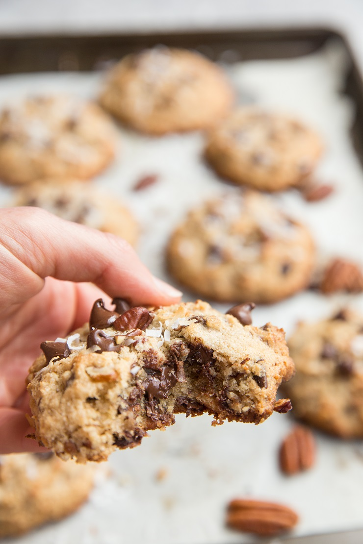 Grain-Free Sugar-Free Chocolate Chip Cookies with pecans and shredded coconut - Laura Bush Cowboy Cookies made keto friendly