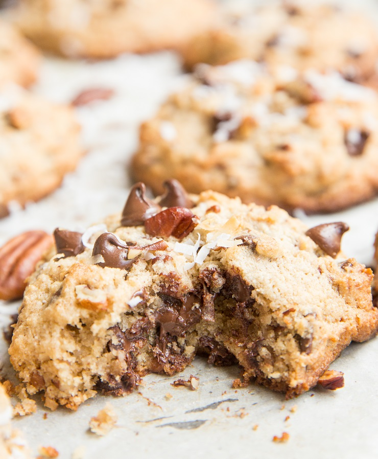 Keto Cowboy Cookies made with almond flour - amazing chocolate chip cookies, pecans, shredded coconut, etc. Laura Bush's cowboy cookies made low-carb!