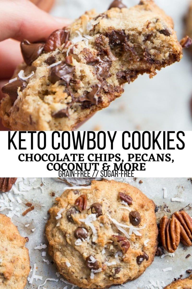 Grain-Free Keto Cowboy Cookies with pecans and shredded coconut - sugar-free, grain-free, insanely delicious cookie recipe! A sugar-free version of Laura Bush Cowboy Cookies