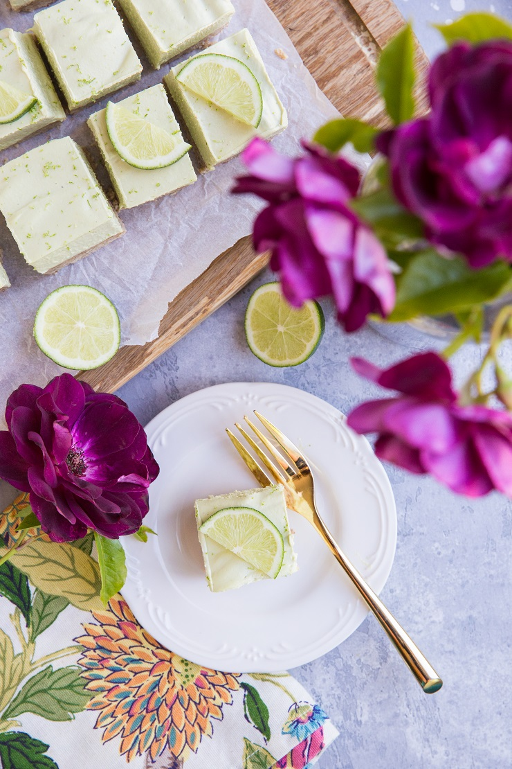Low-Carb Key Lime Pie Bars - dairy-free, grain-free, sugar-free, delicious no-bake dessert recipe.