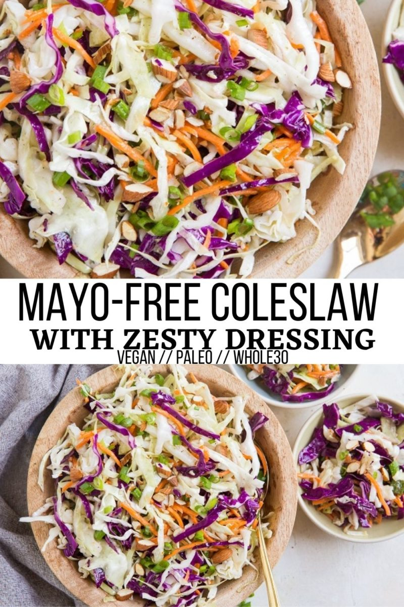 Mayo-Free Coleslaw Recipe with a zesty dressing is a refreshing side dish or condiment! Serve it up at your barbecue!