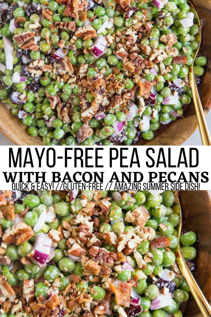 Mayo-Free Pea Salad with bacon, pecans and dried cranberries is a fresh, flavorful side dish, perfect for summer gatherings! This versatile pea salad recipe can be served as a side dish or added to a green salad to spruce it up.