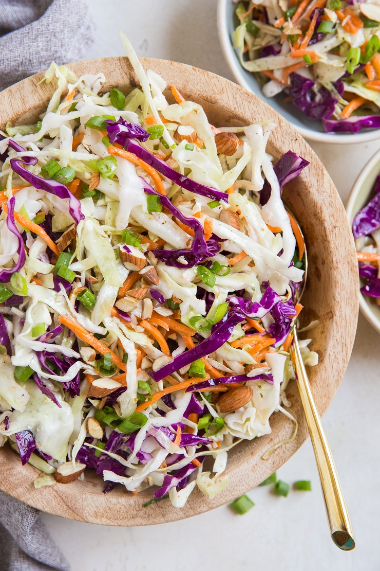 Easy fresh Coleslaw Recipe from scratch - no mayo or cane sugar! A healthy, delicious vibrant coleslaw recipe