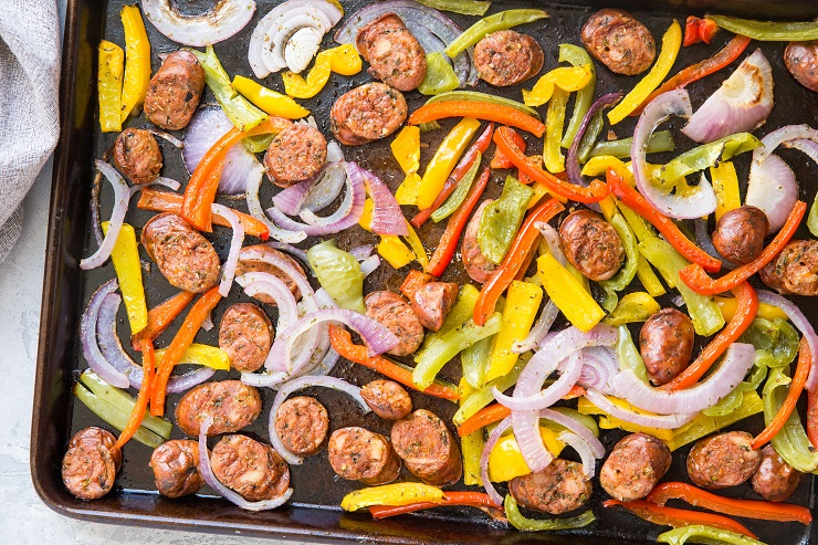 Easy Sausage and Peppers Recipe - includes instructions for sheet pan or skillet