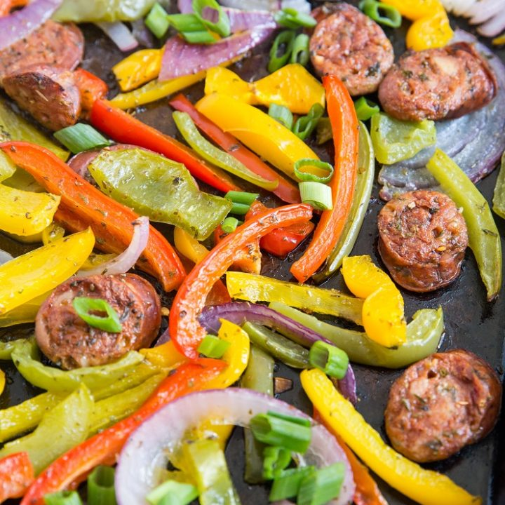 Quick and Easy 30-Minute Sheet Pan Sausage and Peppers Recipe - the easiest dinner you'll ever make!