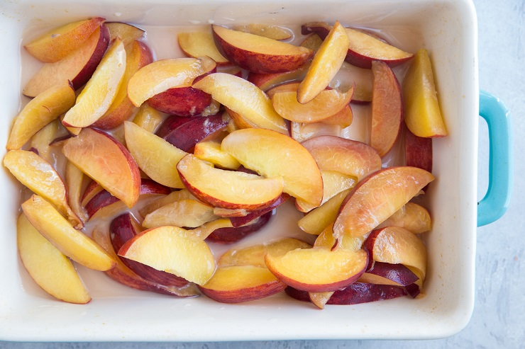 Toss the ingredients for the peach filling in a mixing bowl and then transfer to a small casserole dish