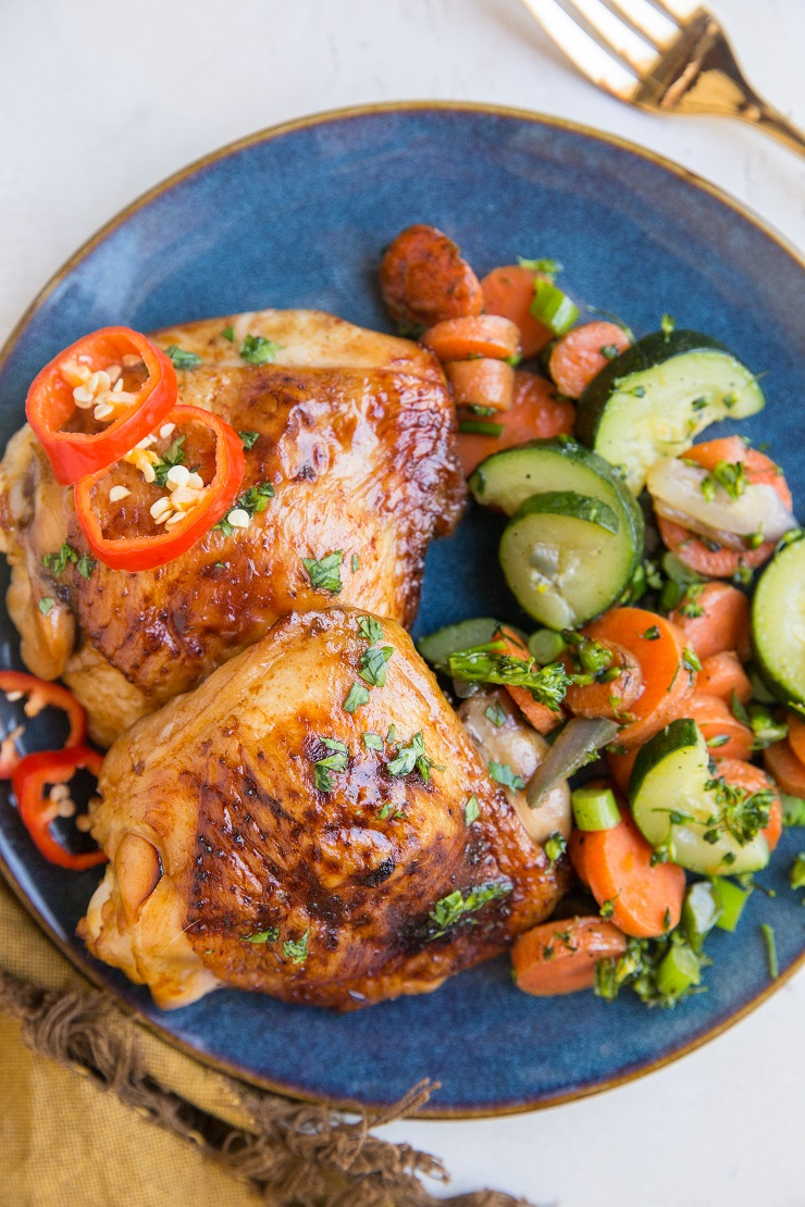 Easy Baked Teriyaki Chicken Thighs made refined sugar-free, soy-free, paleo-friendly and keto. An amazing meal to put on repeat!